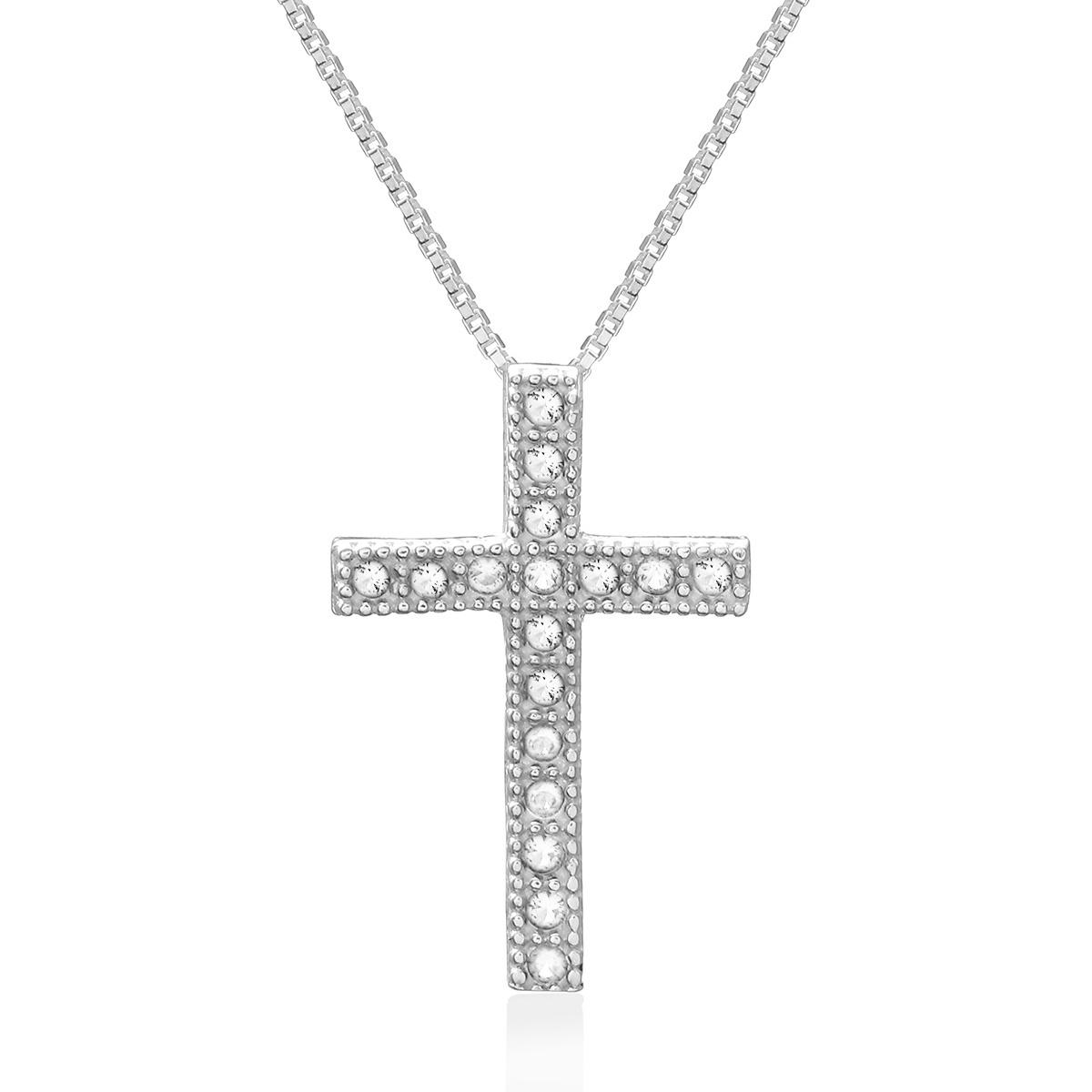 Colar Crucifixo Cravejado Branco Prata 925