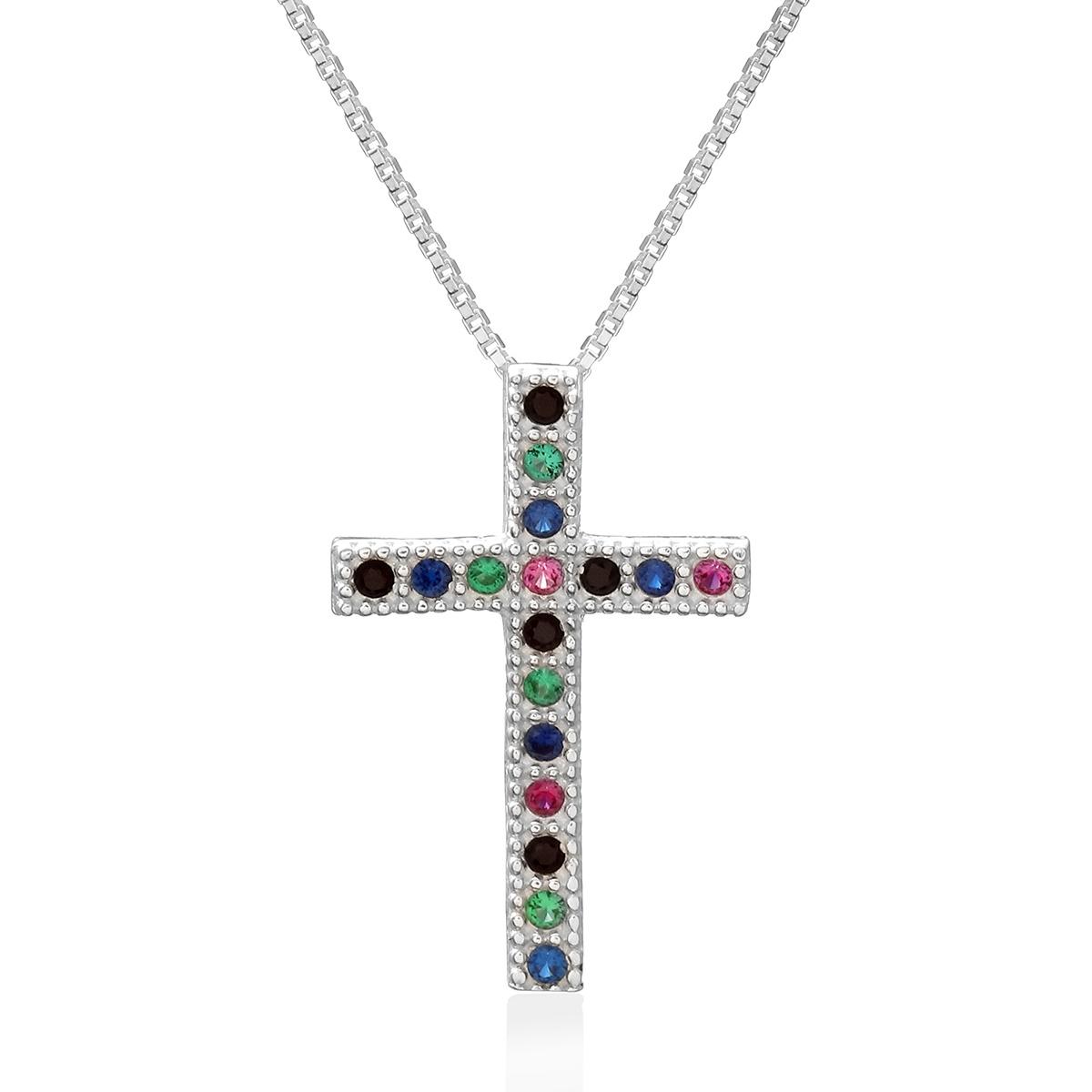 Colar Crucifixo Cravejado Sortido Prata 925