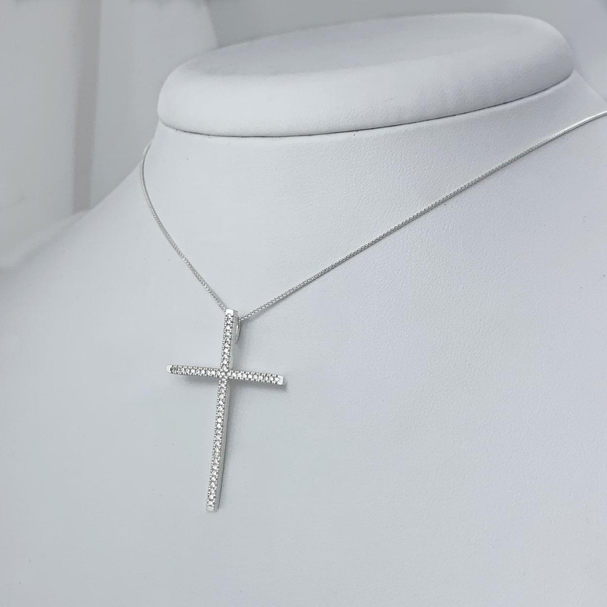 Colar Crucifixo Grande Cravejado de Zircônias Prata 925, Colar de Prata