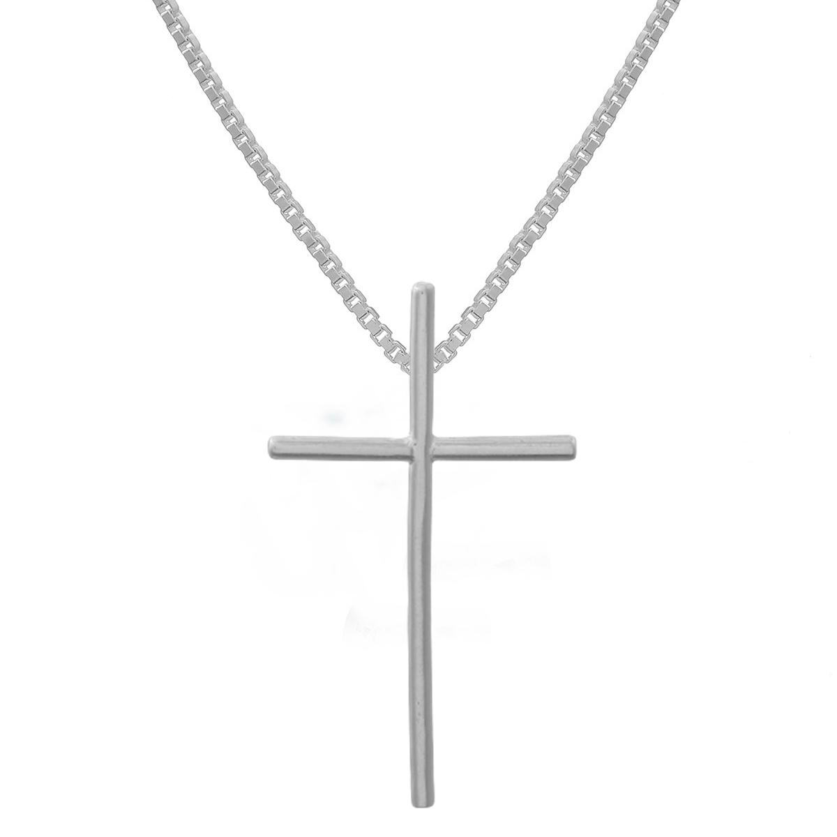 Corrente Crucifixo G Liso Prata 925