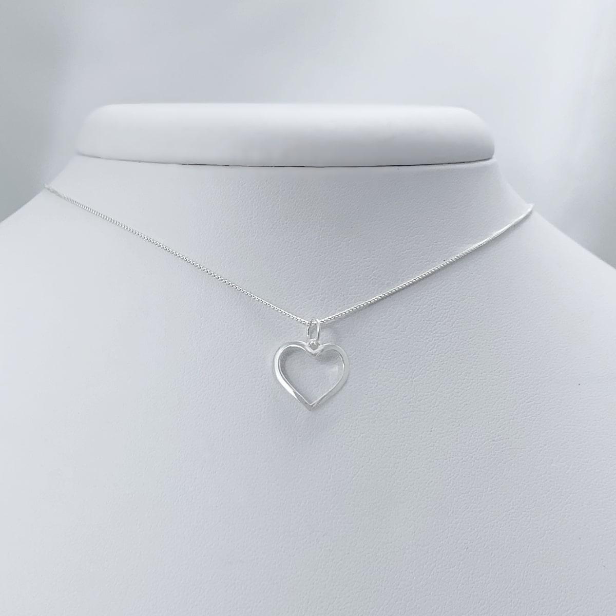 Colar Coração Curvado Prata 925