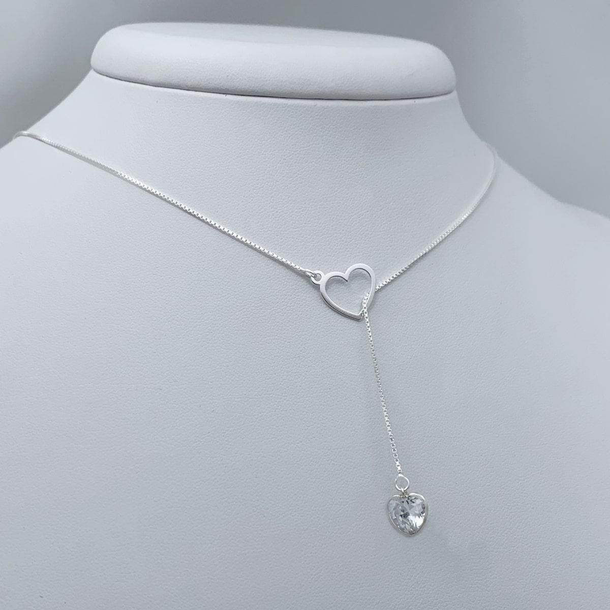 Colar Gravata Coração com Pedra Zircônia Prata 925, Corrente de Prata