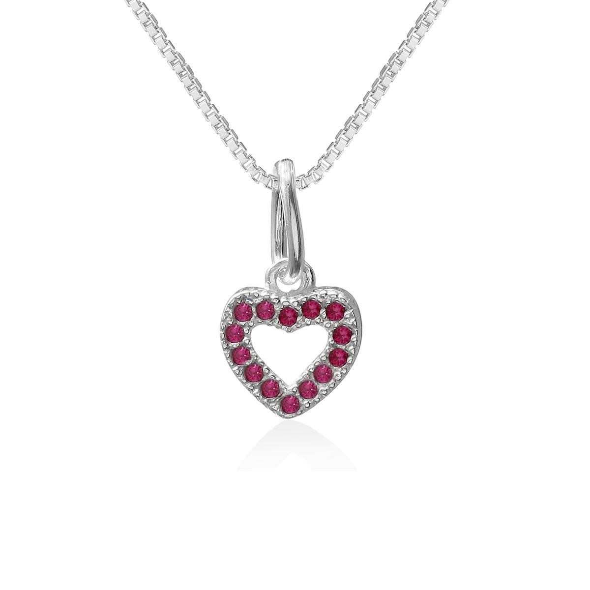 Colar Mini Coração Rosa Prata 925