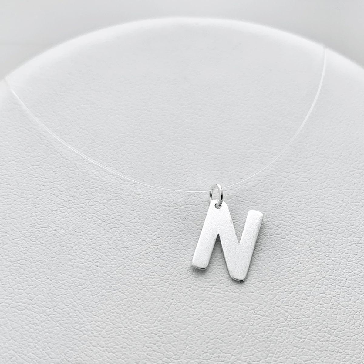Colar Nylon Prata 925, Colar Inicial Letra