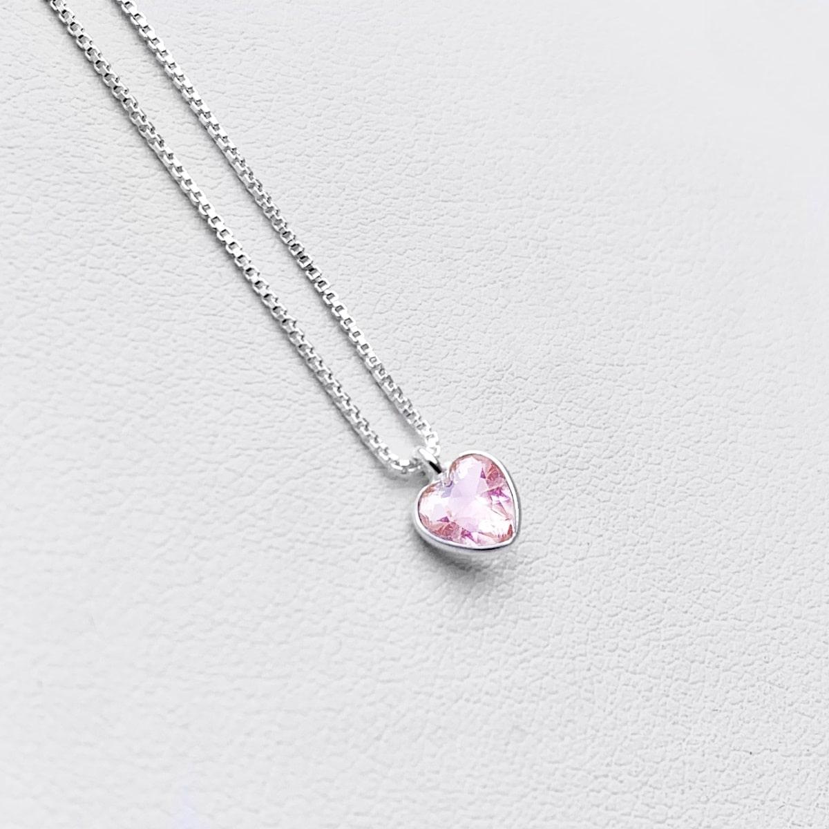 Colar Ponto de Luz Coração Rosa Prata 925, Colar de Prata