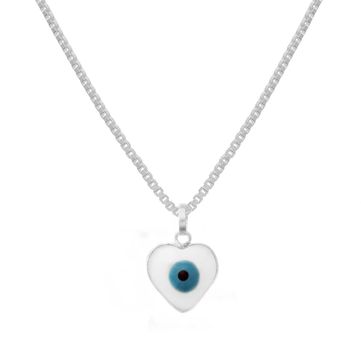 Colar Coração Olho Grego Prata 925