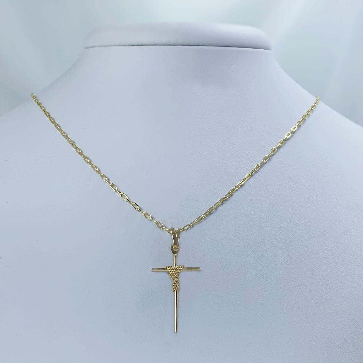 Corrente Cartier com Crucifixo Banhado a Ouro