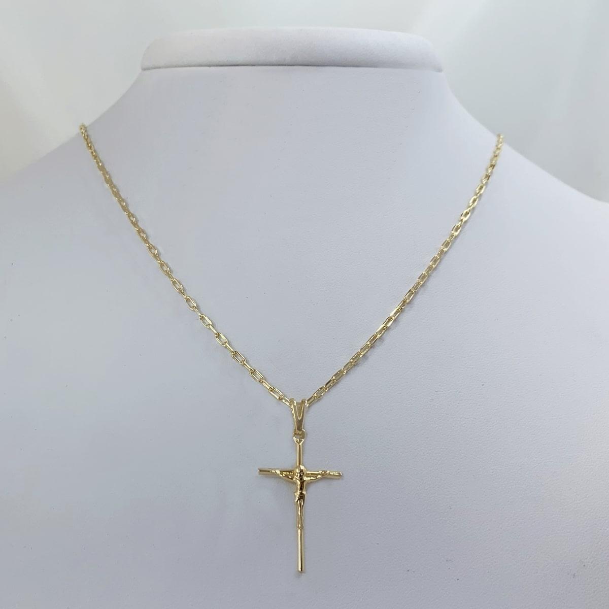 Corrente Cartier(Fina) com Crucifixo Banhado a Ouro