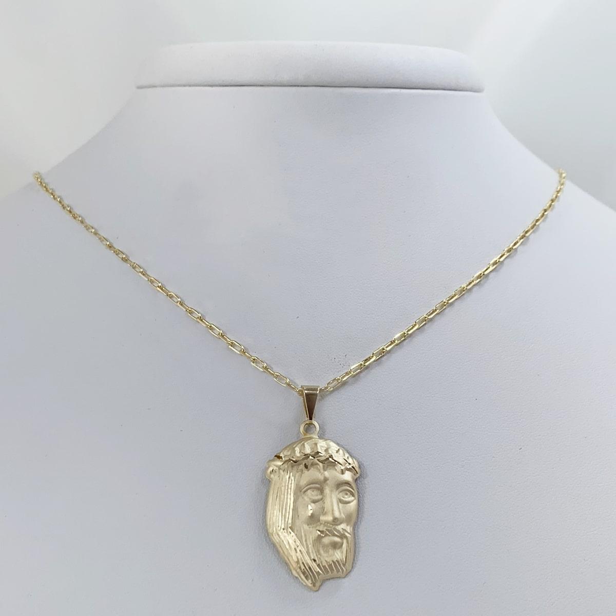 Corrente Cartier(Fina) com Face de Cristo Banhado a Ouro