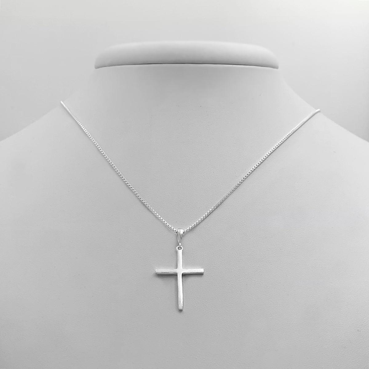 Corrente Crucifixo Liso Prata 925 70cm