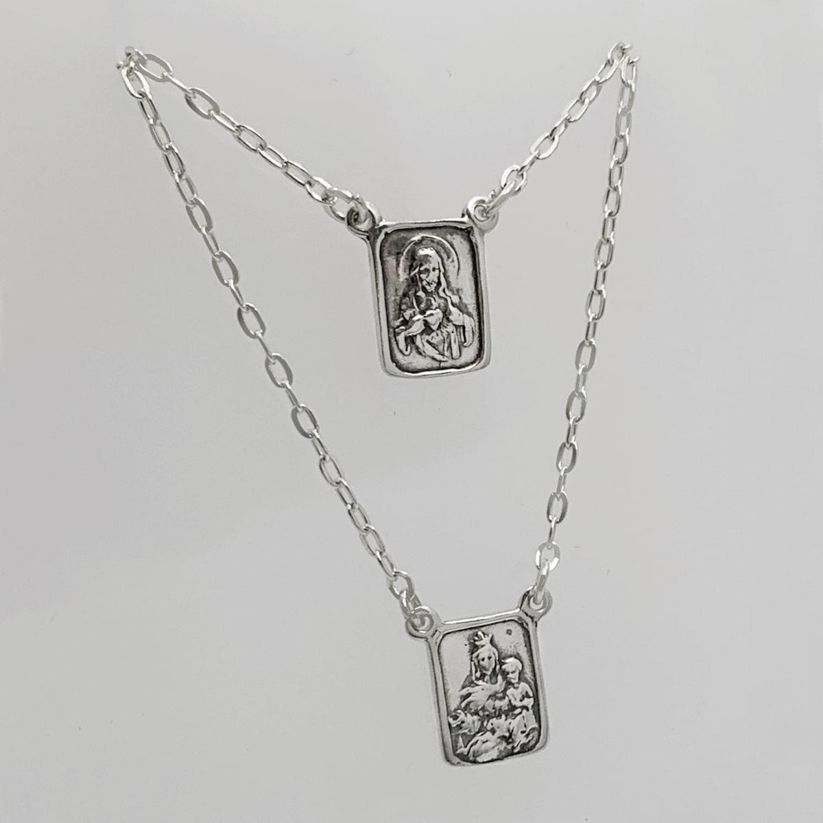 Escapulário de Prata, Sagrado Coração de Jesus e Nossa Senhora do Carmo