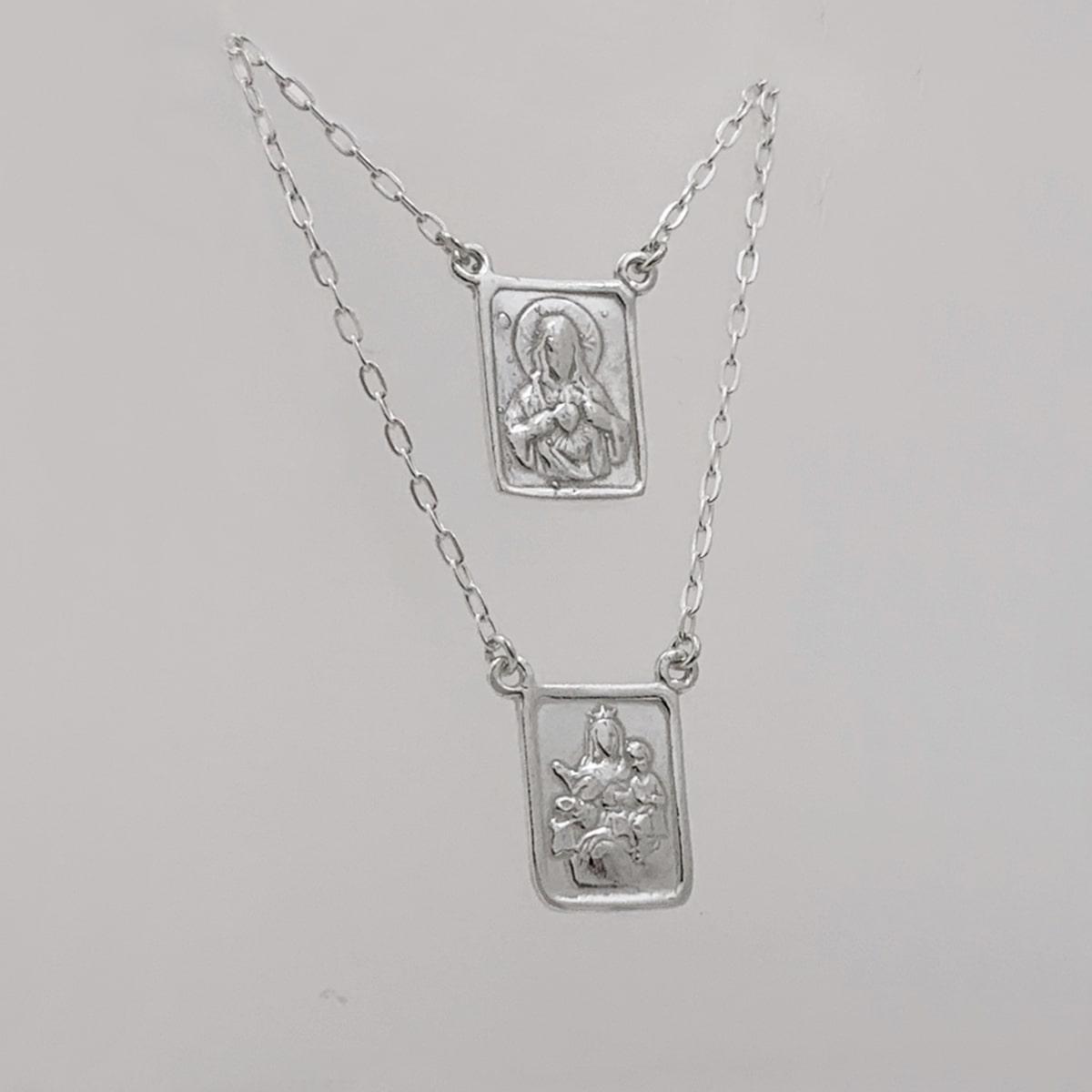 Escapulário de Prata 925, Sagrado Coração de Jesus e Nossa Senhora do Carmo
