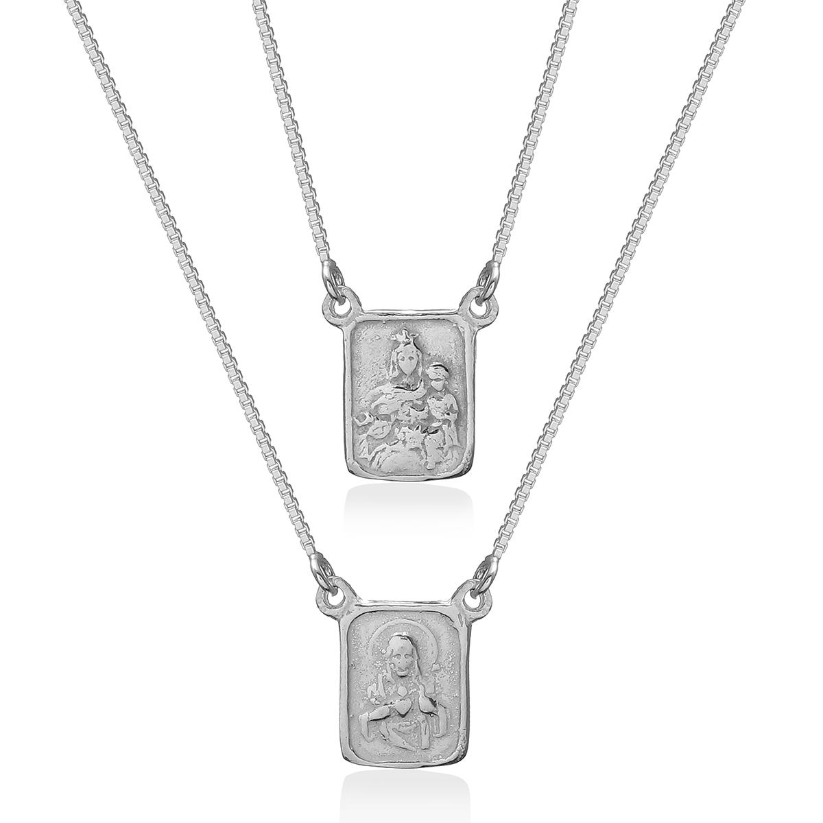 Escapulário Prata 925, S.C. de Jesus e N.Sr. do Carmo