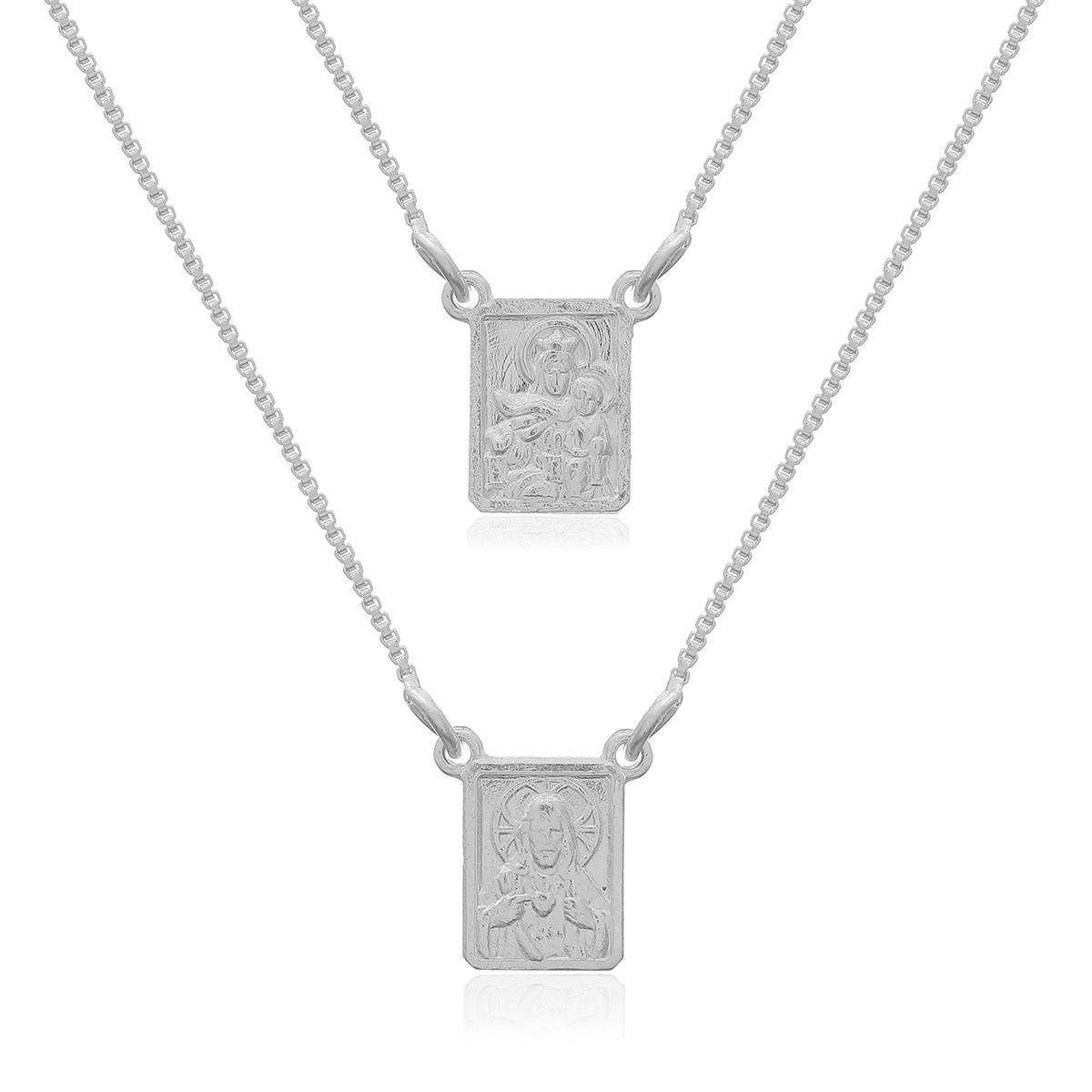 Mini Escapulário de Prata 925, Sagrado Coração de Jesus e Nossa Senhora do Carmo