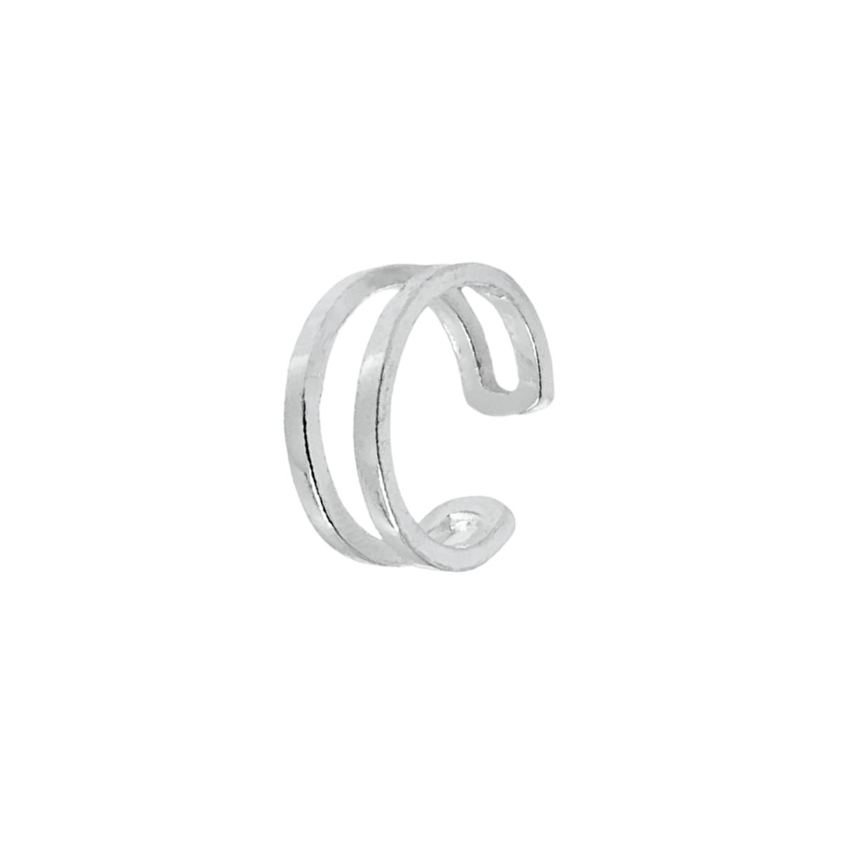 Piercing Pressão Aro Duplo Prata 925, Piercing Fake Prata