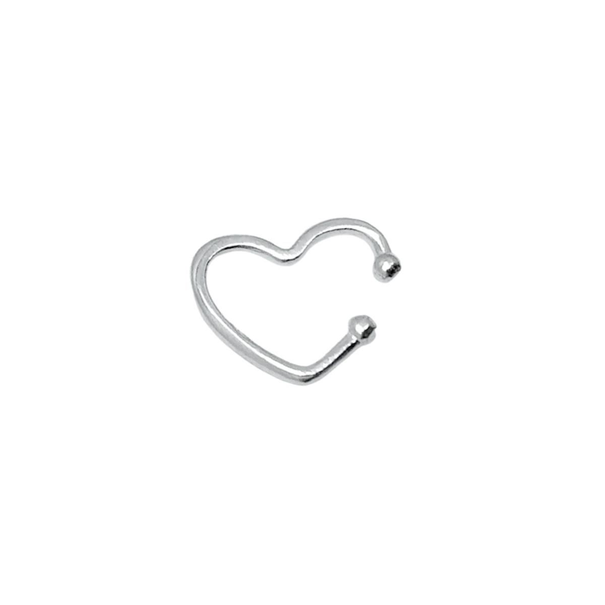 Piercing Fake Coração Prata 925