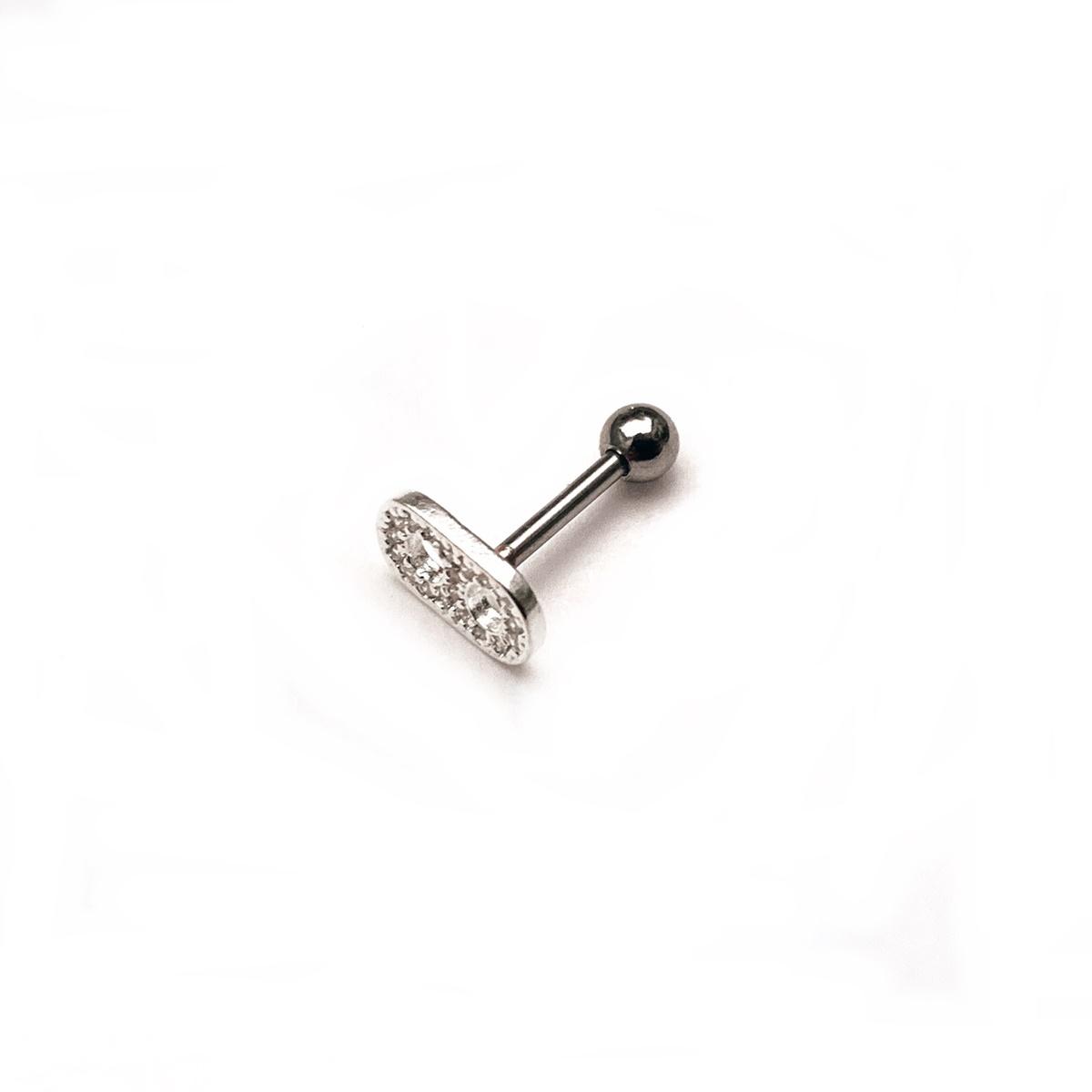 Piercing Tragus Lacre Cravejado 8mm Prata 925