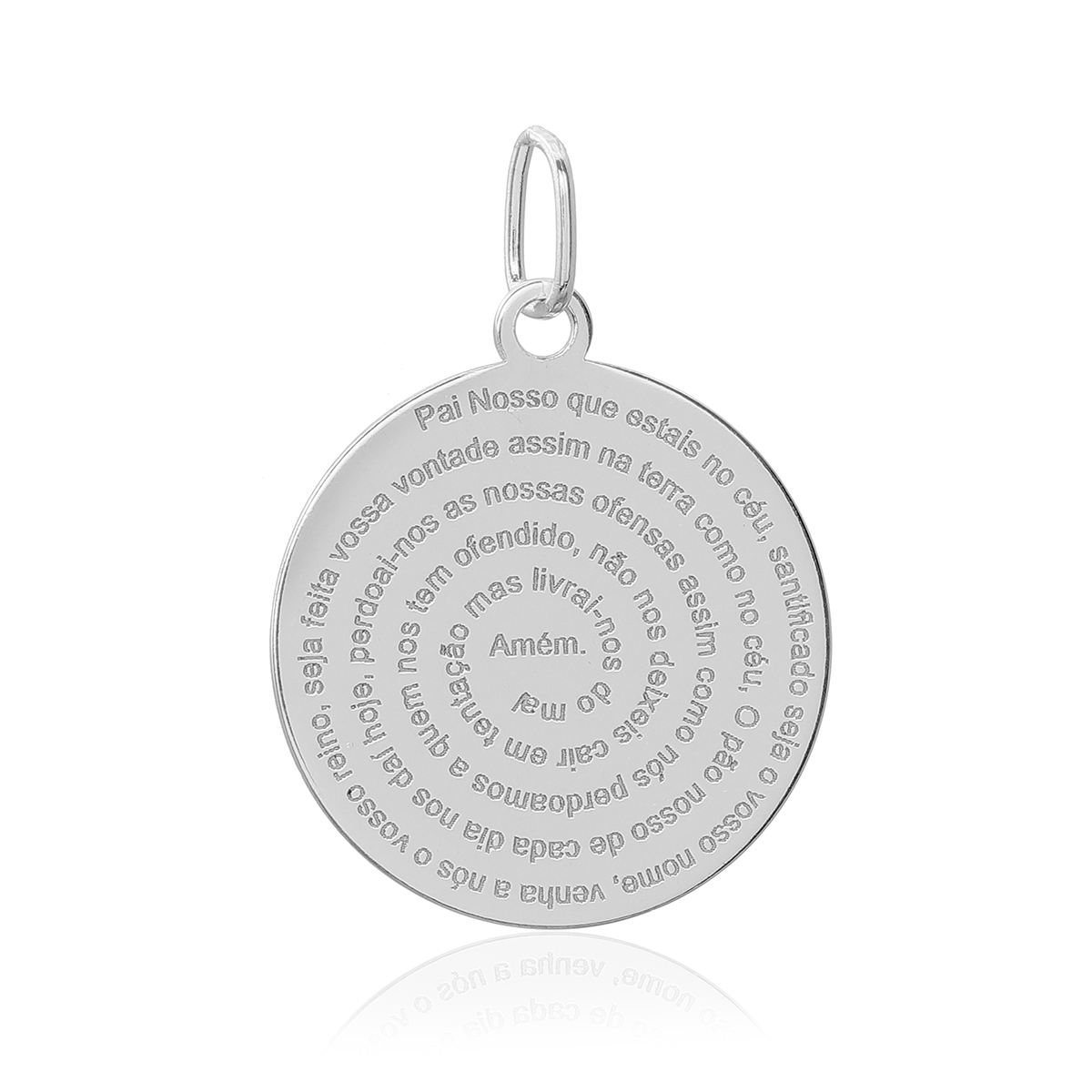 Pingente Medalha Oração Pai Nosso Prata 925 18mm