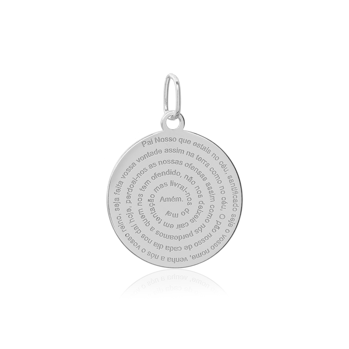 Pingente Medalha Oração Pai Nosso Prata 925 13mm