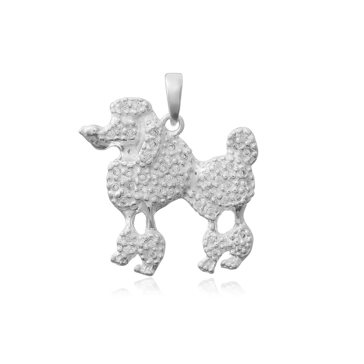 Pingente Prata 925, Cachorro Cravejado