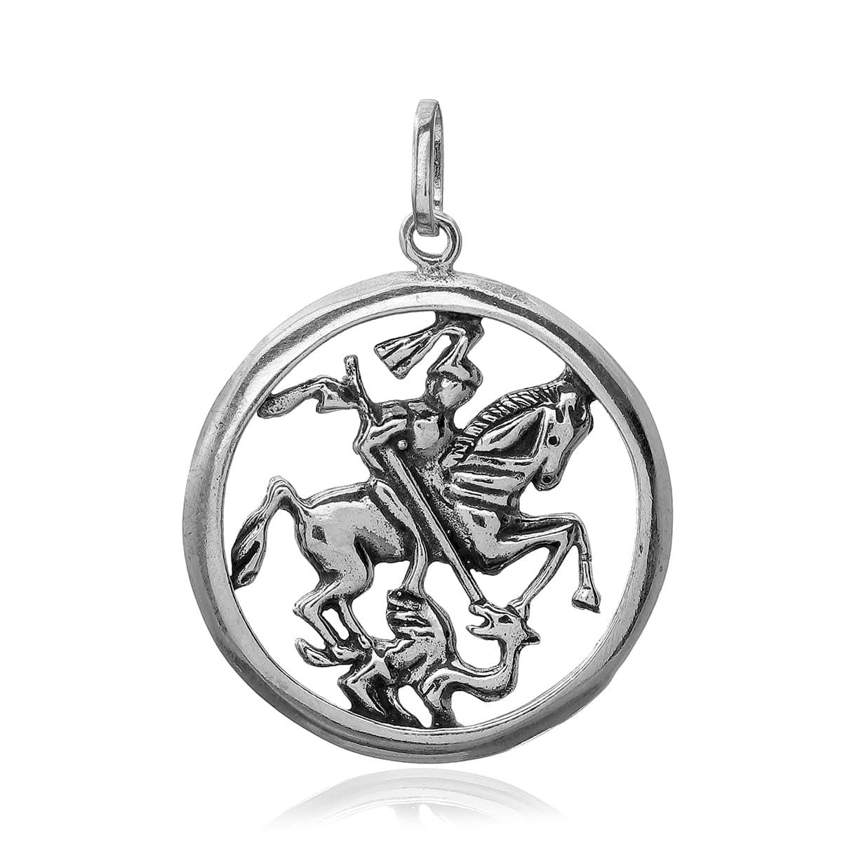 Pingente Prata 925, Medalha São Jorge
