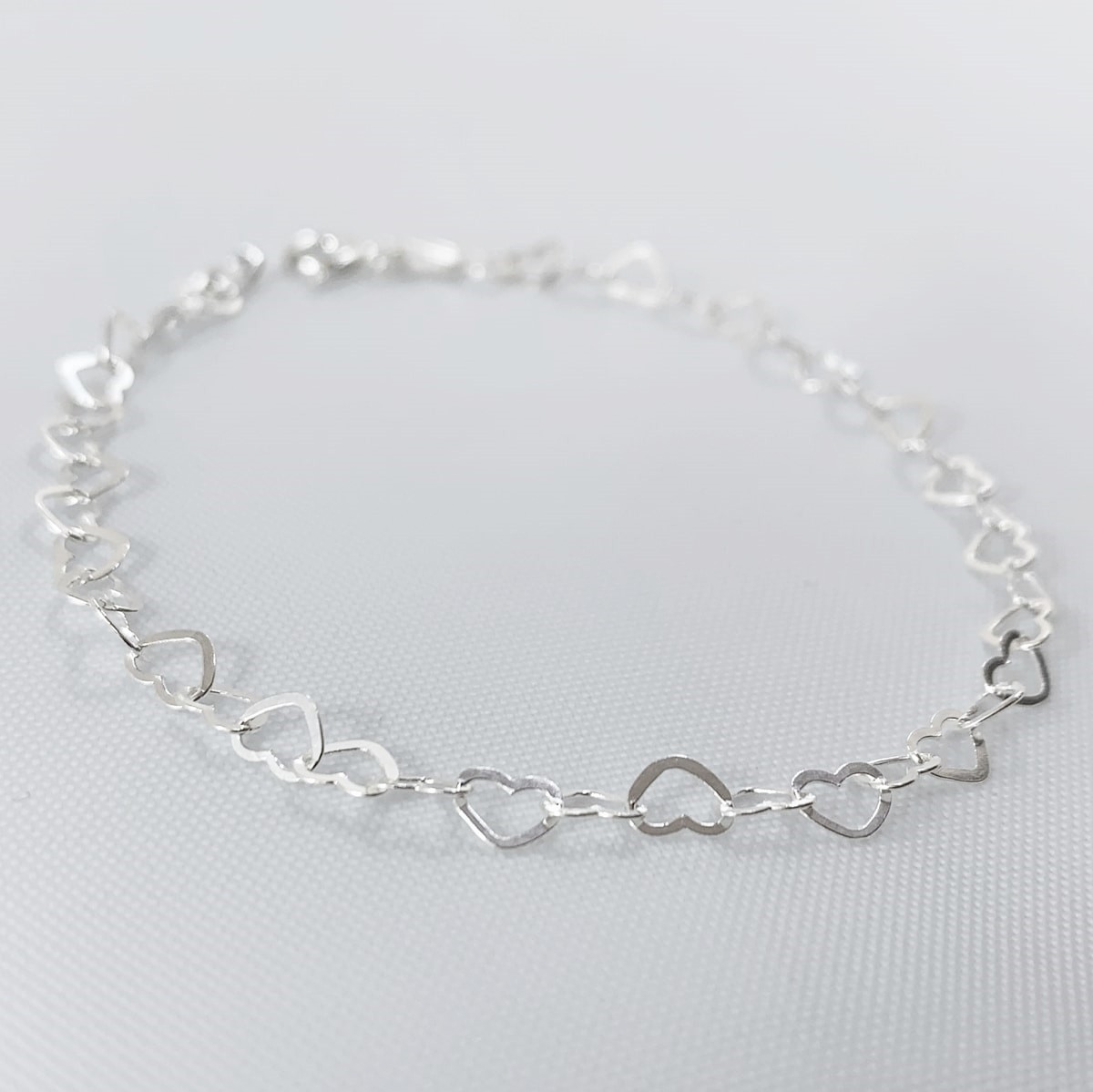 Pulseira Prata , Coração Vazado Prata 925