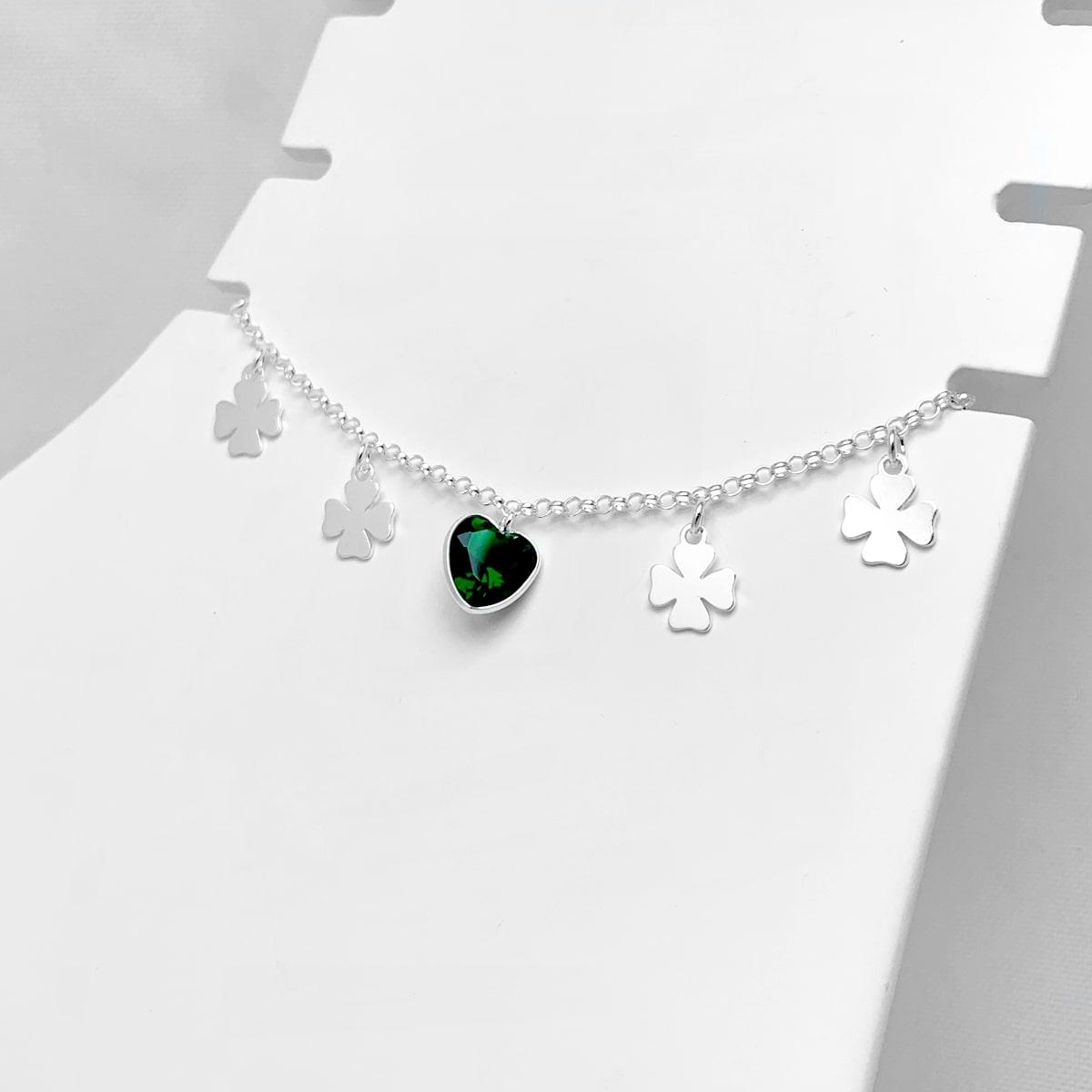 Tornozeleira Coração Verde e Trevos Prata 925