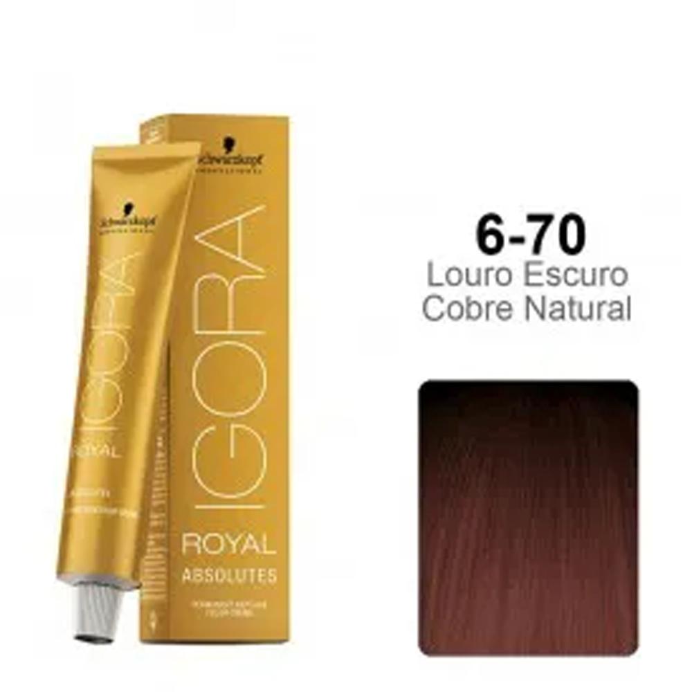 Coloração Igora Royal Absolutes 6-70 Louro Escuro Cobre Natural - Schwarzkopf