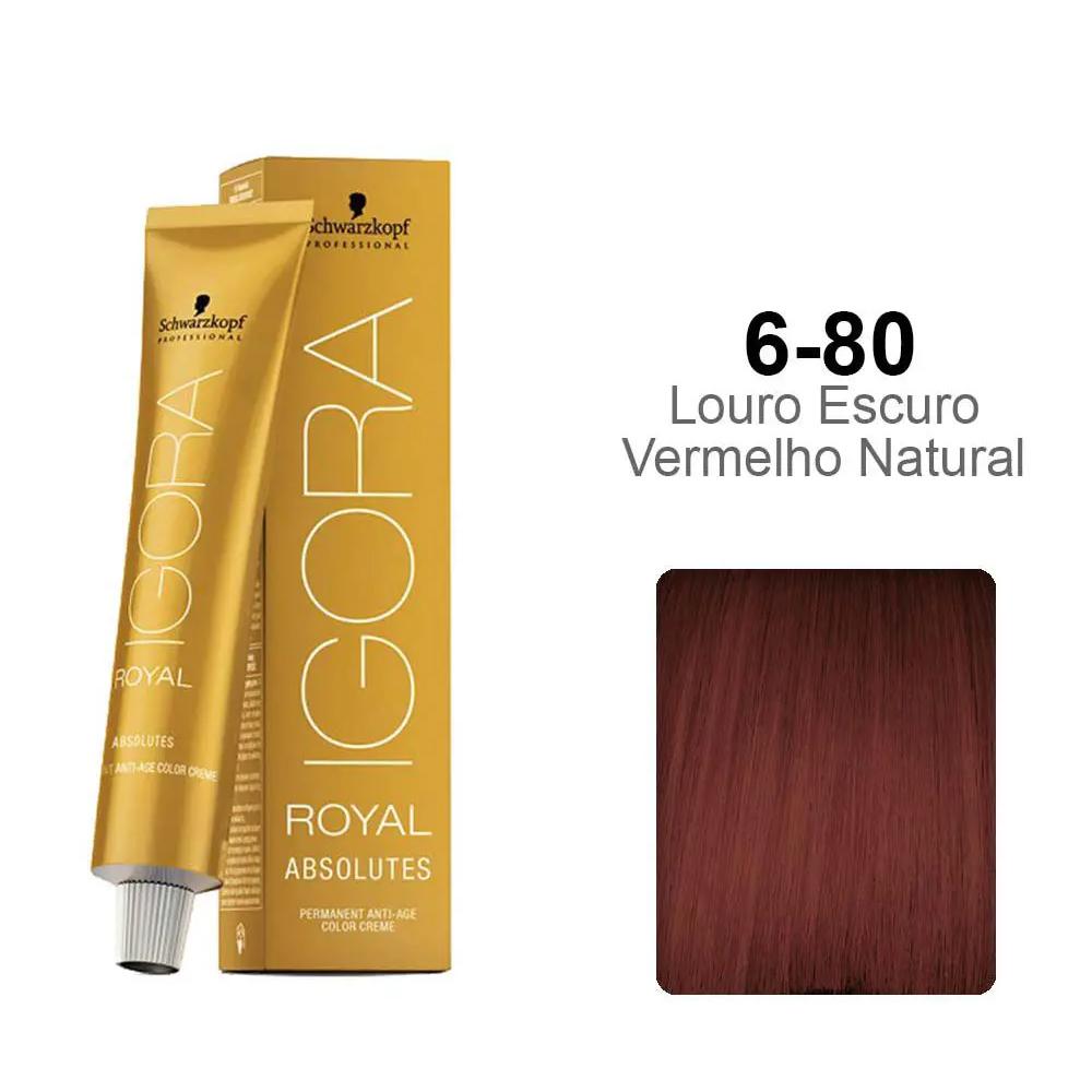 Coloração Igora Royal Absolutes Louro Escuro Vermelho Natural 6-80 - Schwarzkopf