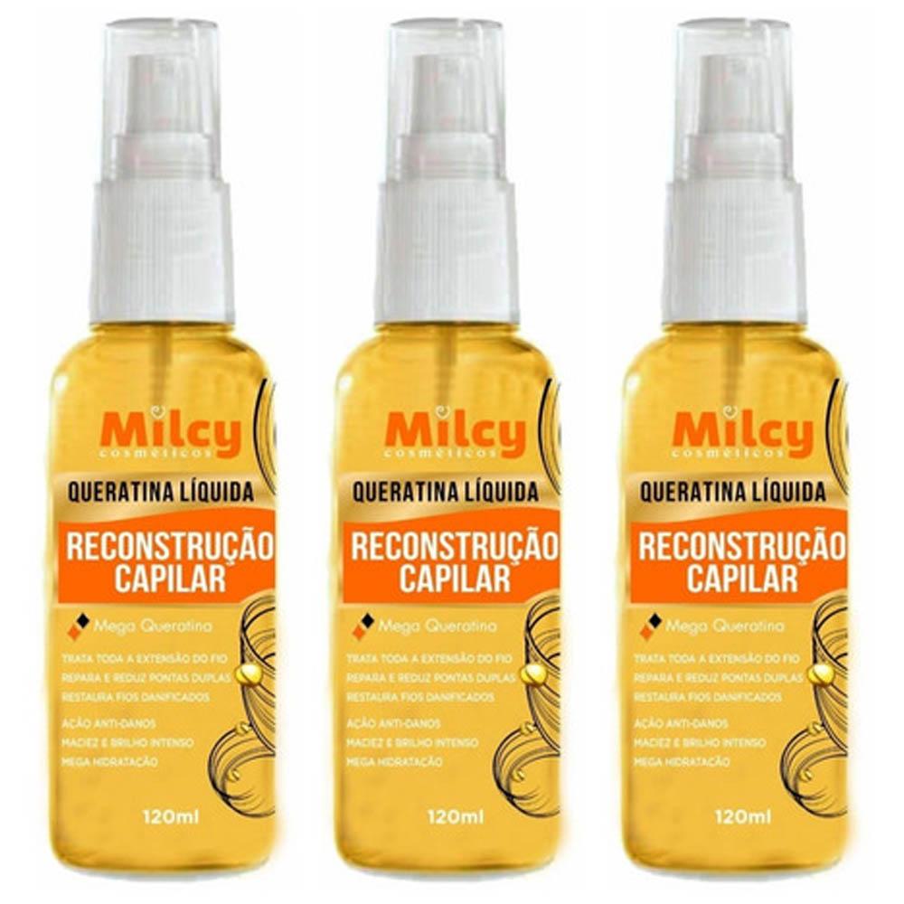 Combo 3 Unidade  Queratina Liquida 120ml Spray Reconstrução Capilar - Milcy