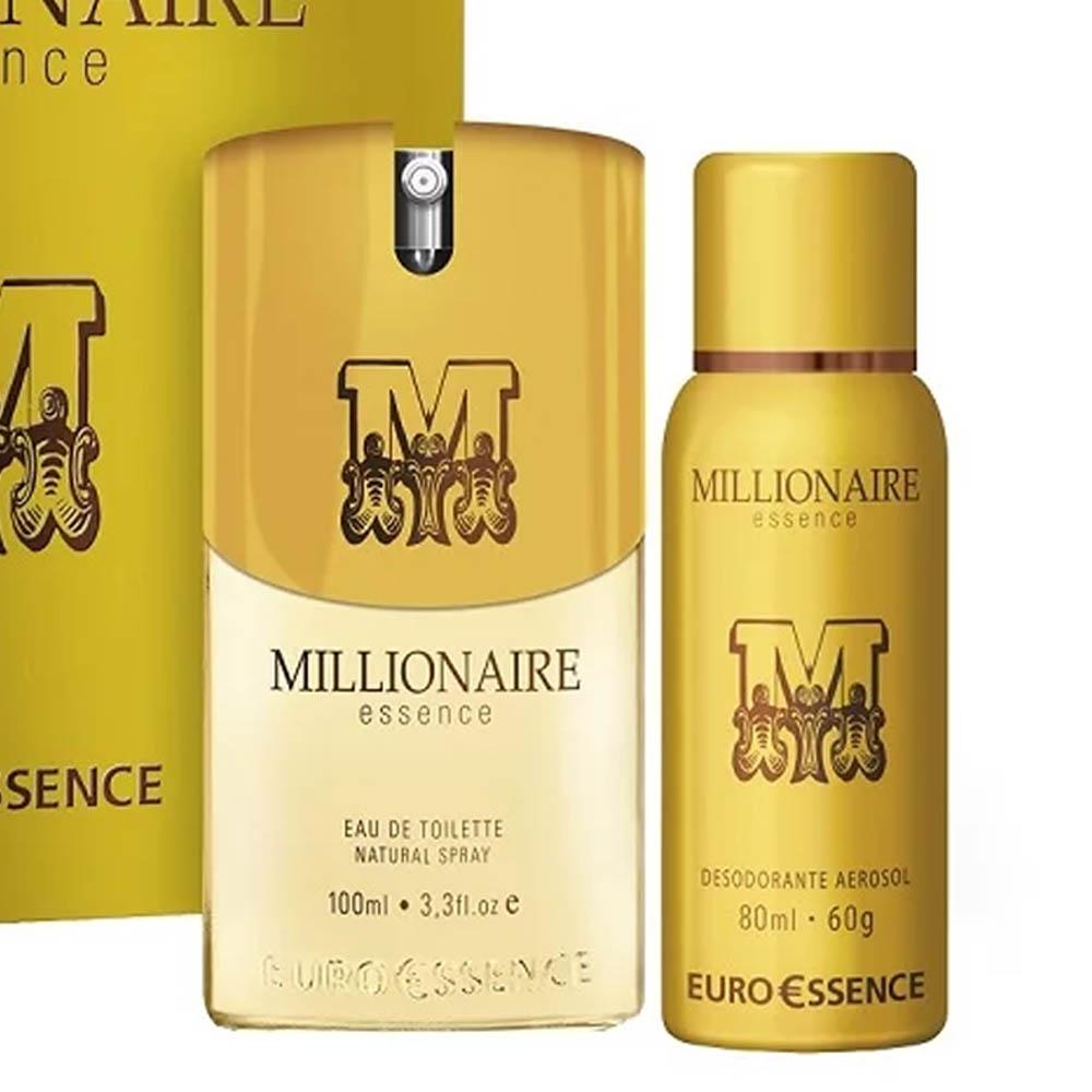 Euroessence Millionaire Estojo Colônia 100ml + Desodorante Aerosol 80g - Eurossence