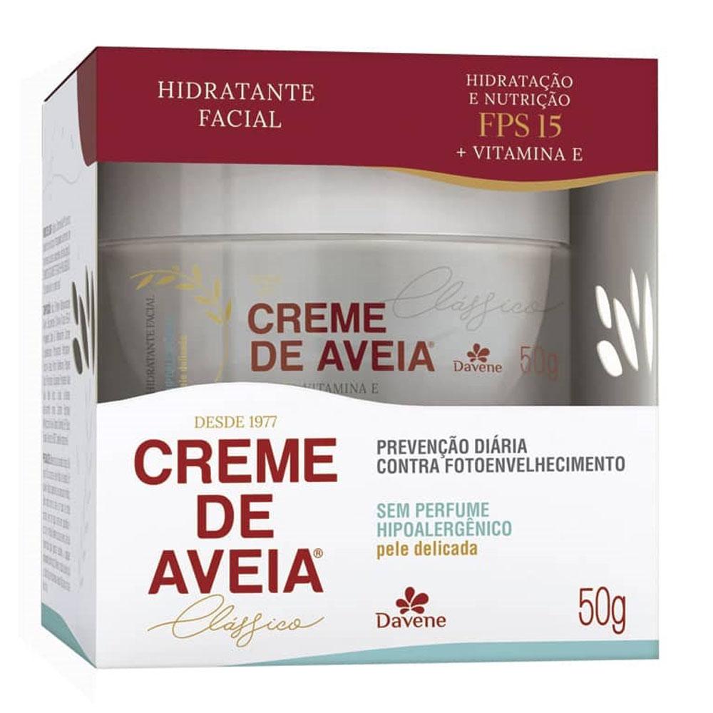 Hidratante Facial Creme de Aveia hipoalergênico, FPS 15, 50g - Davene