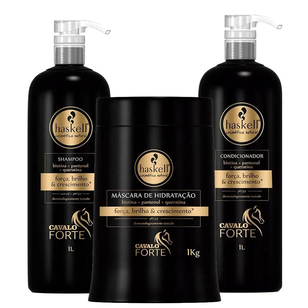 Kit Cavalo Forte Shampoo + Condicionador + Mascara - Haskell