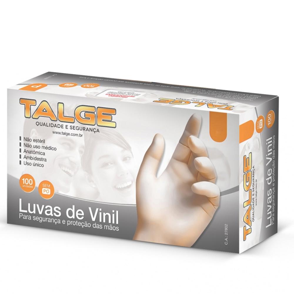 Luva Vinil Tamanho M com Pó Transparente com 100 Unidades - Talge