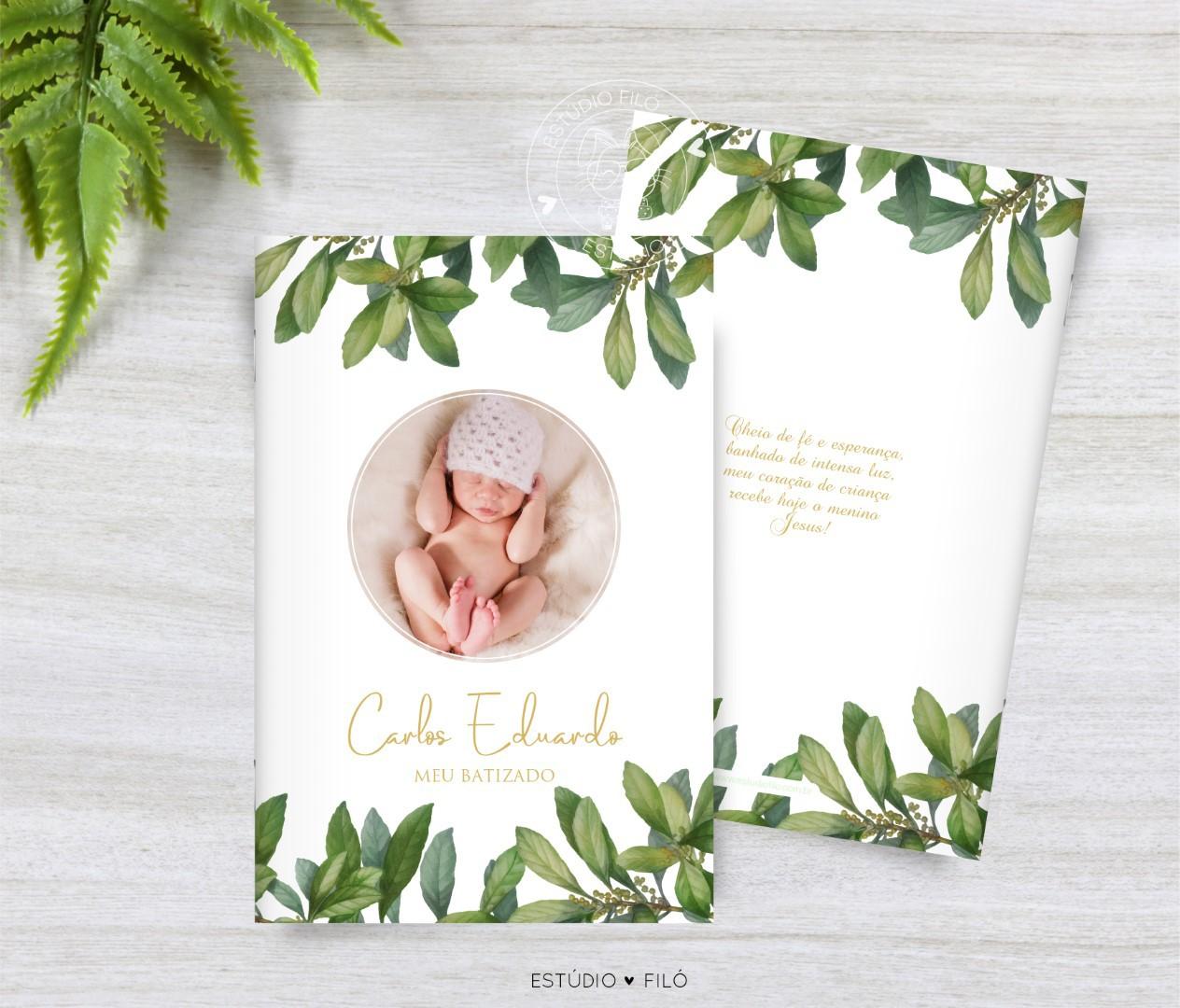 Livrinho de orações com foto lembrancinha para batizado