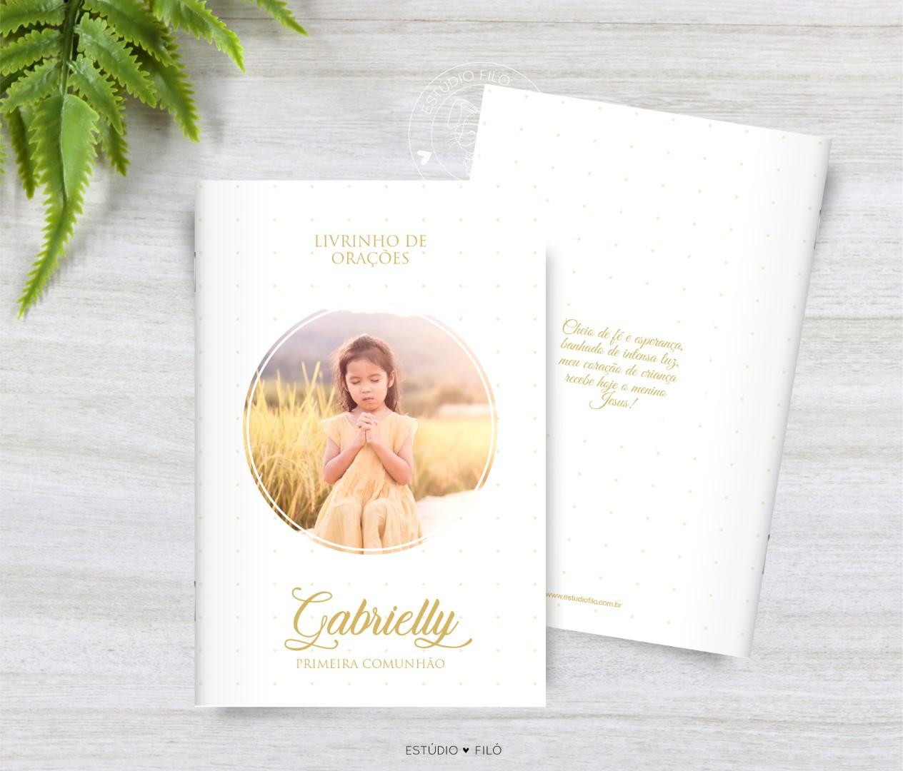 Livrinho de orações com foto lembrancinha para primeira comunhão