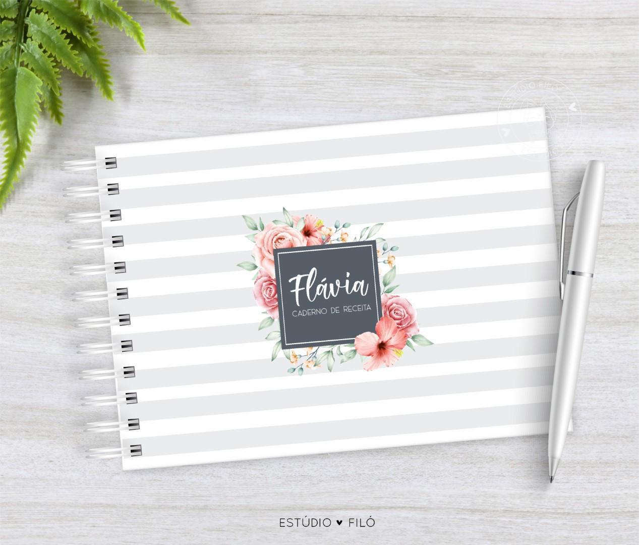 Caderno de receitas Floral listrado