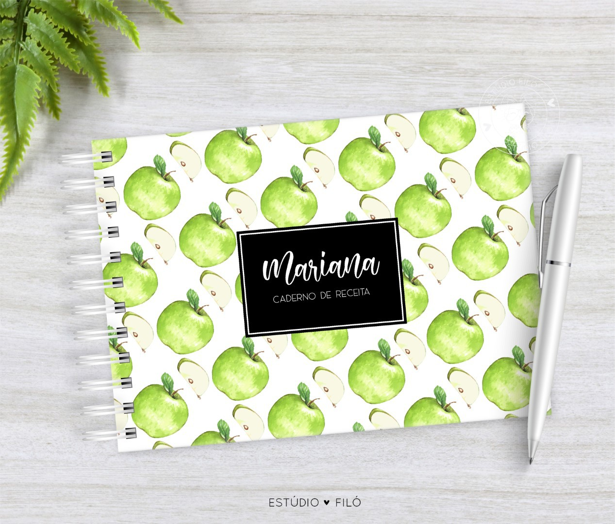 Caderno de receitas maça verde