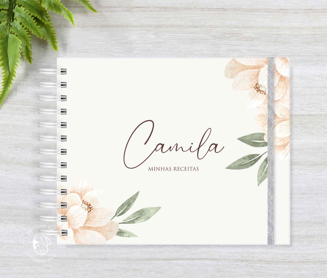 Caderno de receitas Floral