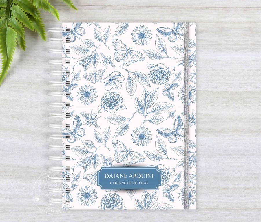 Caderno de receitas floral borboleta
