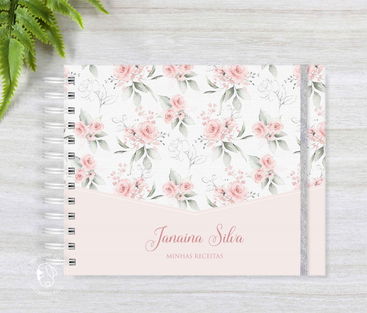 Caderno de receitas floral delicado