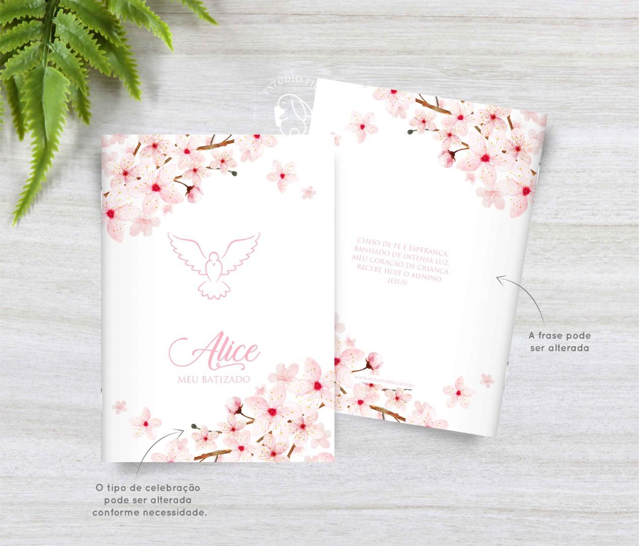Livrinho de orações cerejeira para lembrancinha