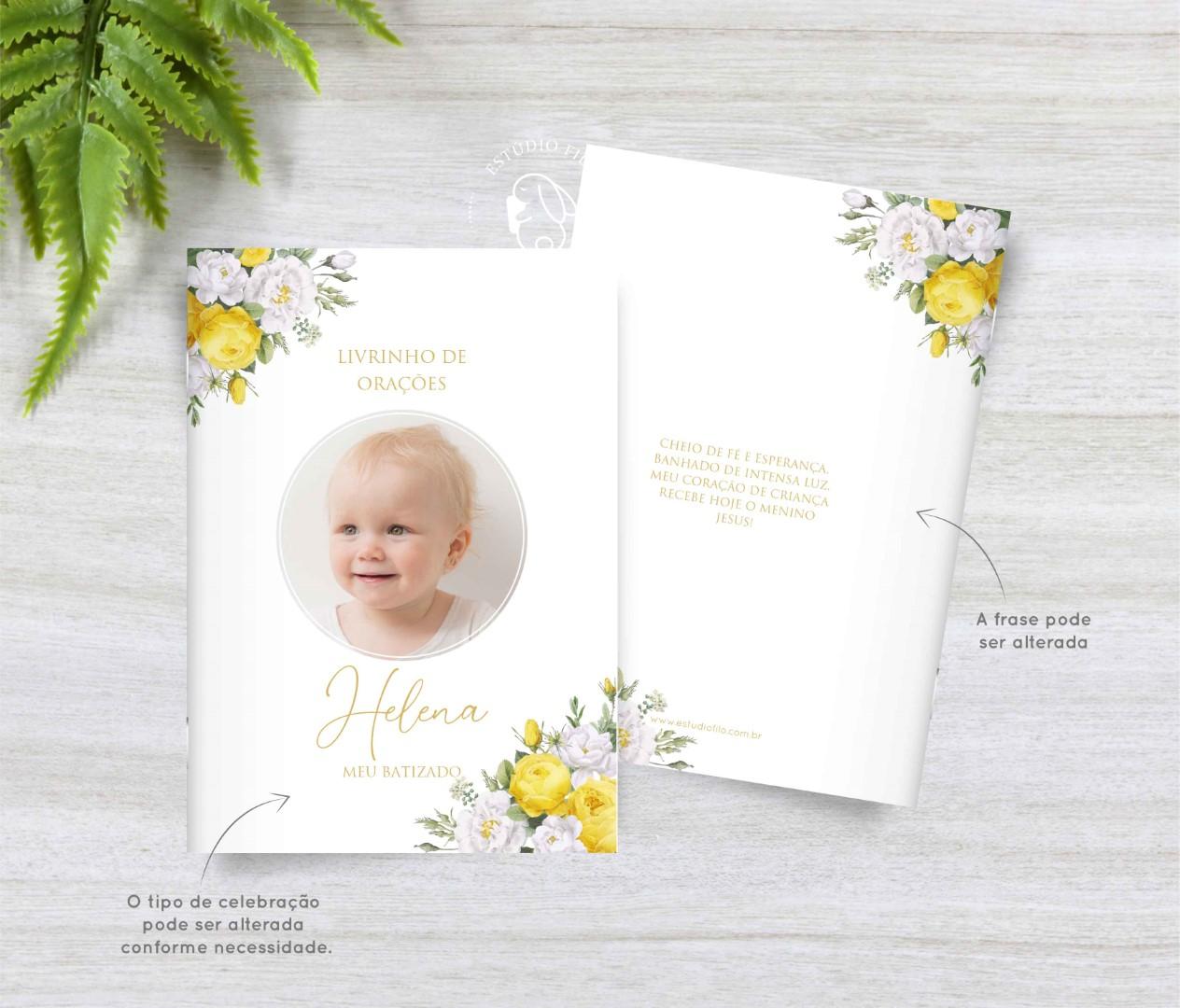 Livrinho de orações com foto floral amarelo para lembrancinha