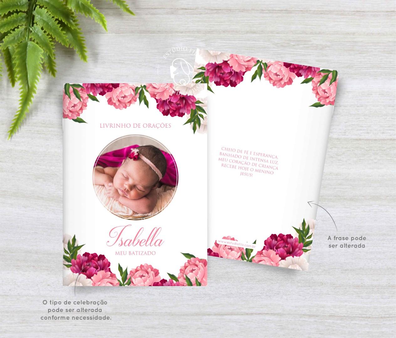 Livrinho de orações com foto floral para lembrancinha
