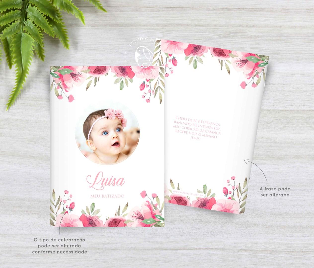 Livrinho de orações com foto floral rosa para lembrancinha