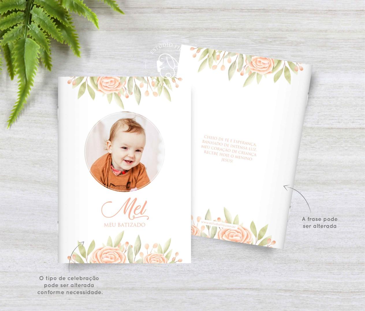 Livrinho de orações com foto floral salmão para lembrancinha
