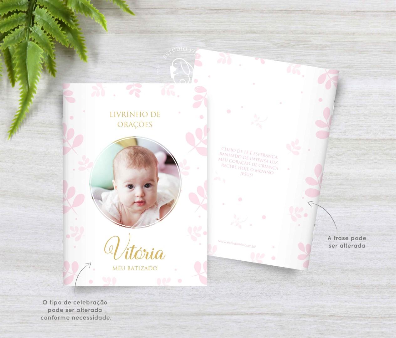 Livrinho de orações com foto folha para lembrancinha - cores