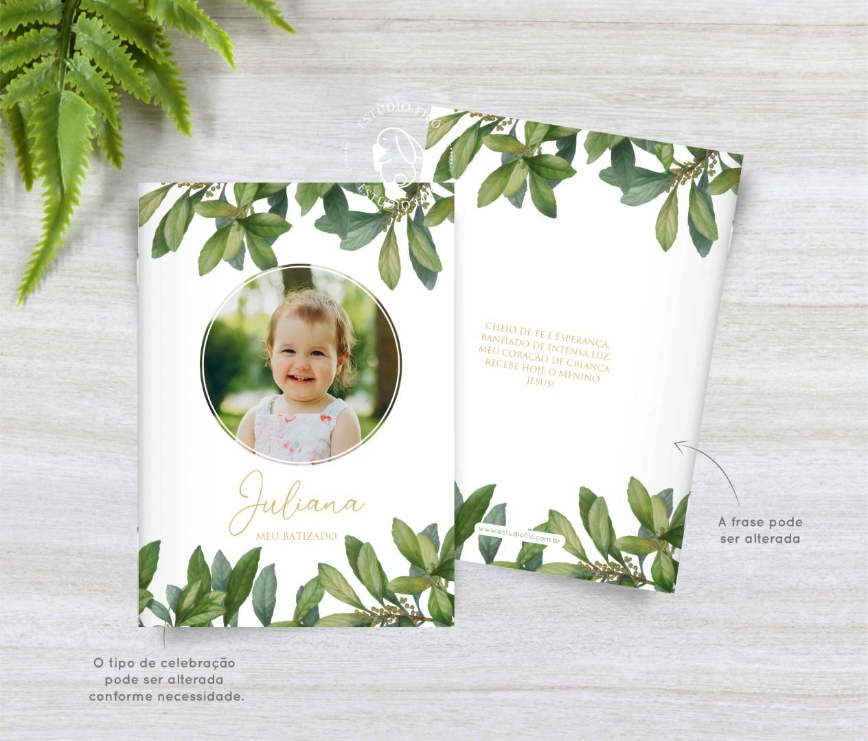 Livrinho de orações com foto folhagem para lembrancinha