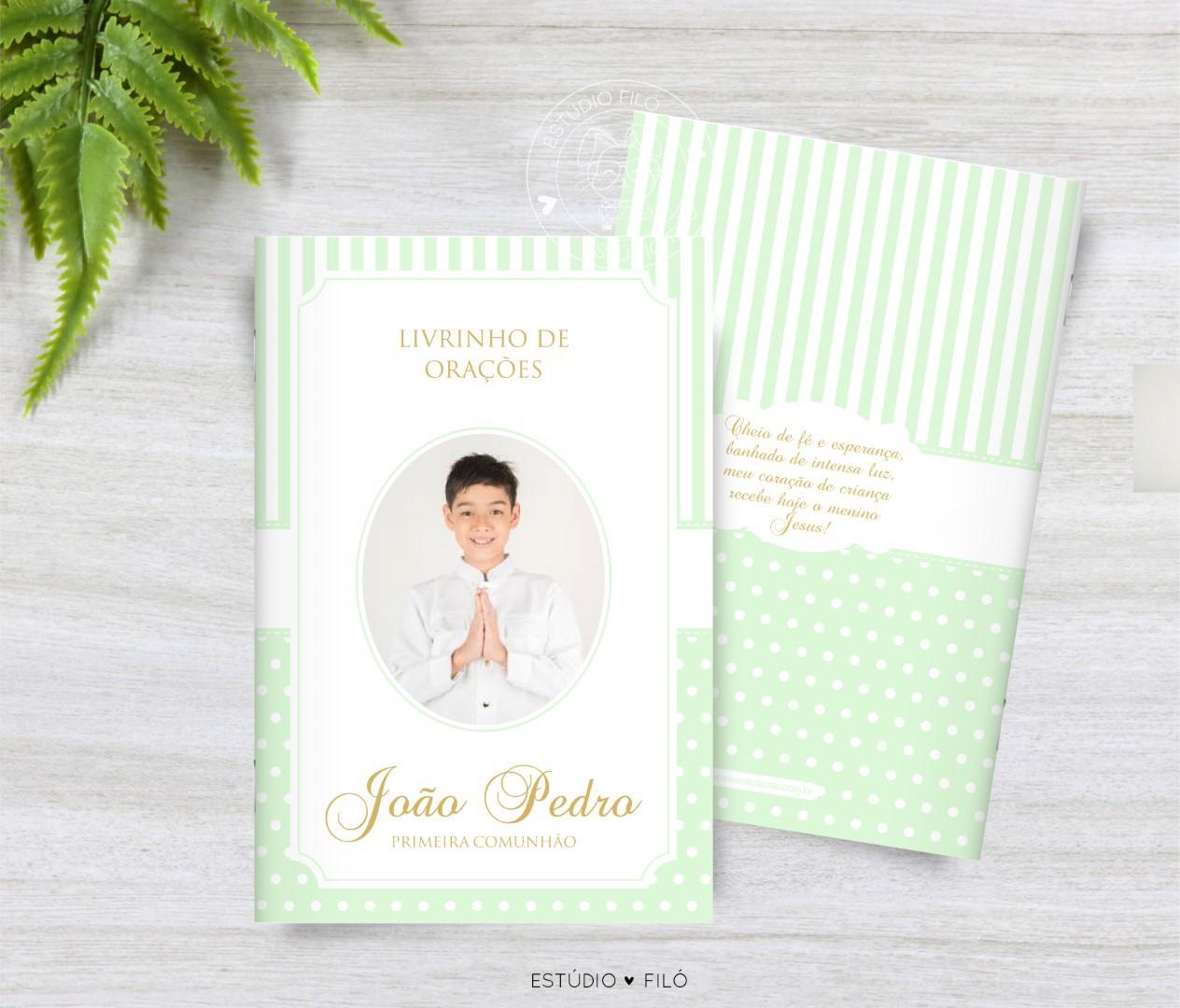 Livrinho de orações com foto lembrancinha para primeira eucaristia