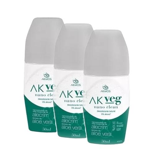 Kit 3 Desodorante Natural Vegano 50ml Akmos